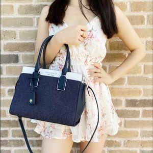 Kate Spade cameron denim colorblock satchel